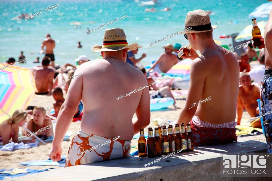 German Boys Drinking At The Beach Palma De Mallorca Stock Photo Picture And Rights Managed Image Pic A70 1200432 Agefotostock