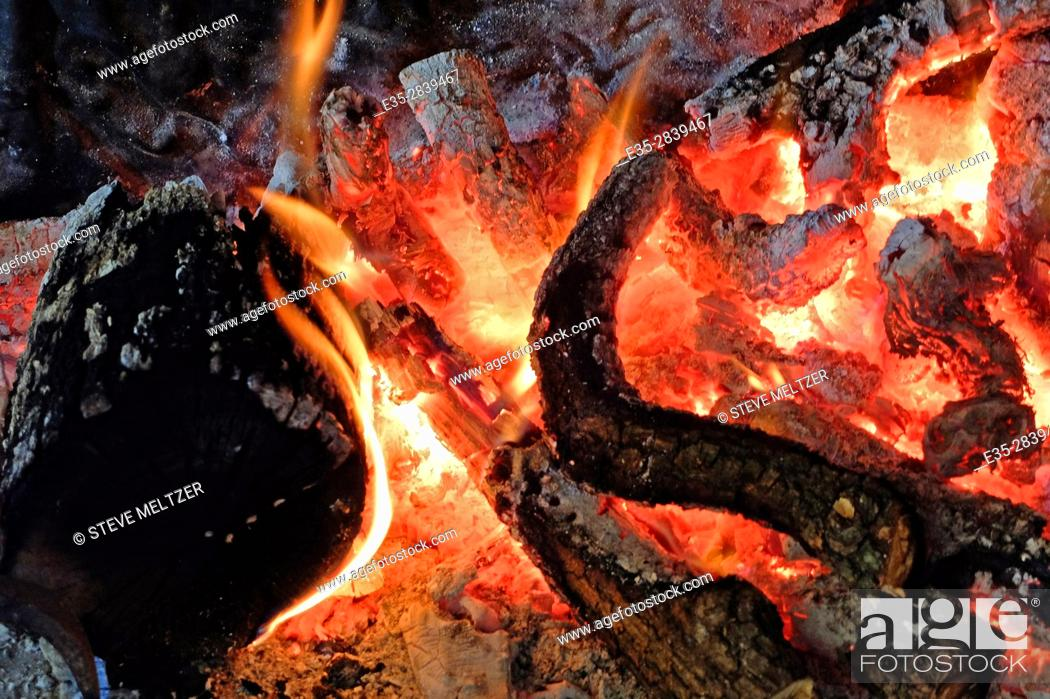 Stock Photo: A fire of grapevine branches.