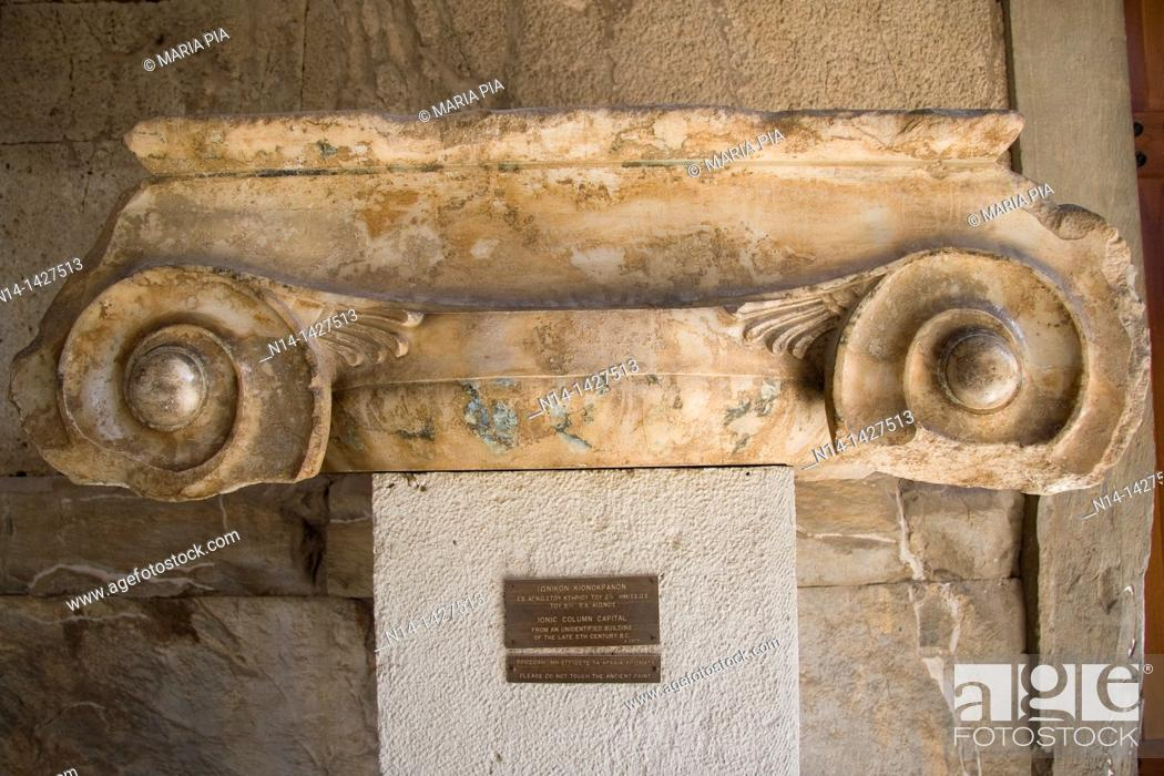 Stock Photo: Jonic Column Capital in the Stoa of Attalos, now the museum of Ancient Agora, in Plaka district, Athens, Greece.
