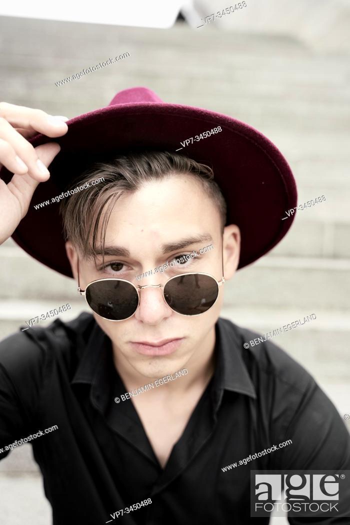 Stock Photo: Portrait of man wearing hat.