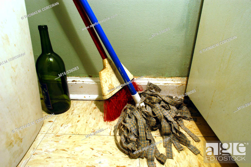 Stock Photo: Dirty cleaning supplies.