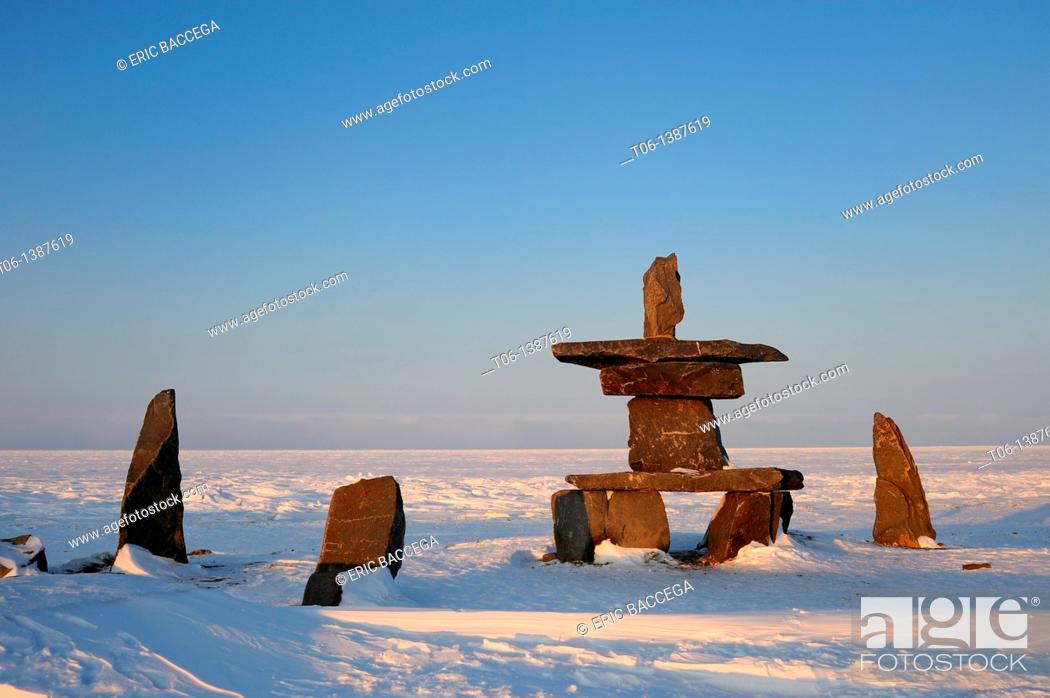 Stock Photo: Inukshuk in town of Churchill on the stores of Hudson Bay, Manitoba, Canada.