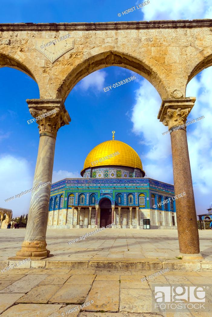 Stock Photo: Dome of the Rock Islamic Mosque Temple Mount, Jerusalem, Israel, Middle East.