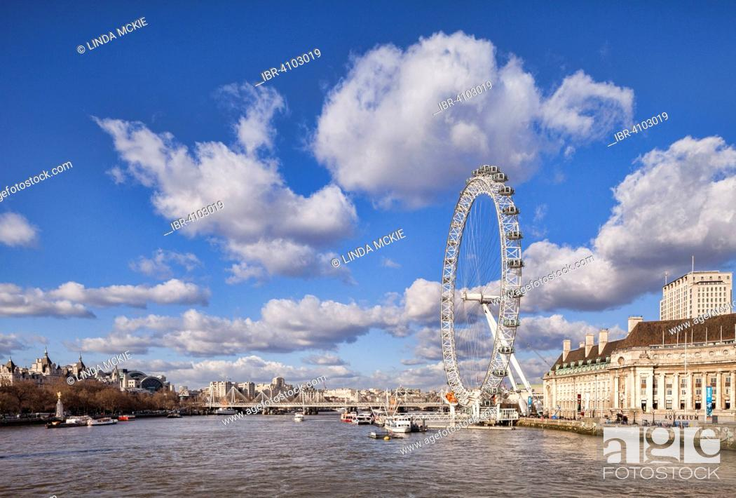 Stock Photo: View of the River Thames downstream from Westminster Bridge to the Millenium Bridge, London Eye and County Hall, London, England, United Kingdom.