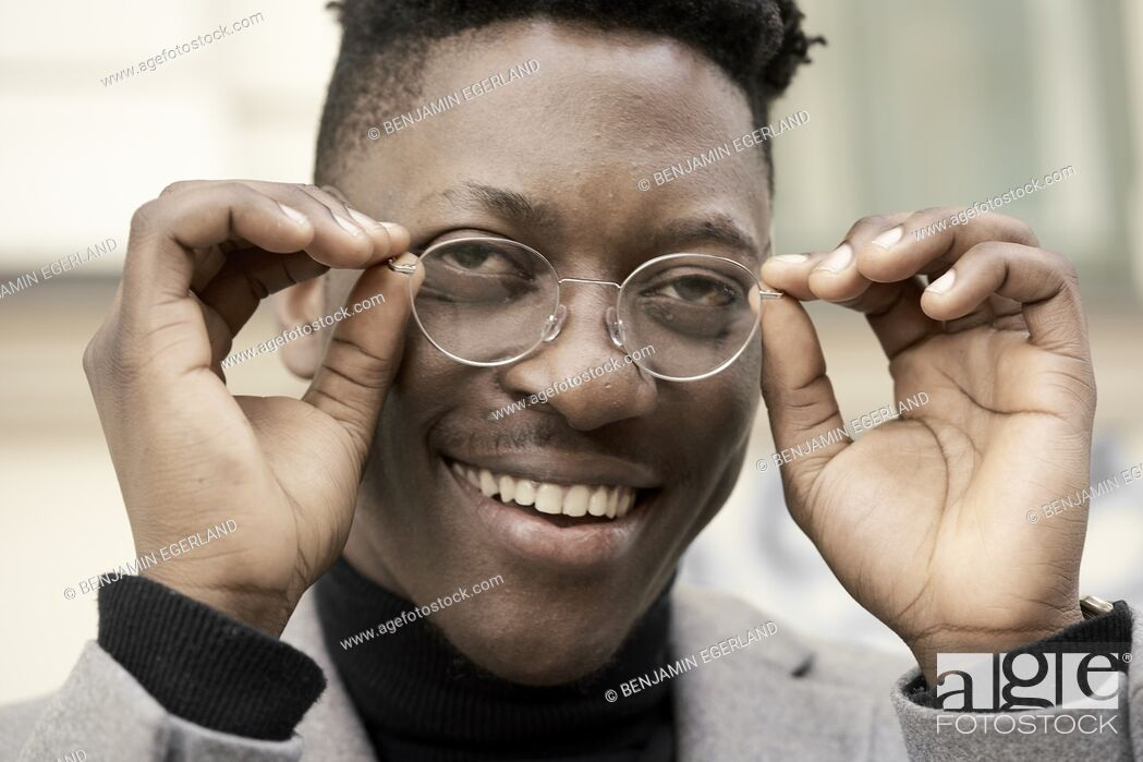 Stock Photo: African man wearing glasses.