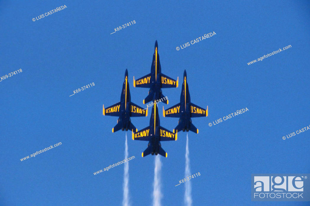Stock Photo: The Blue Angels. US. Navy Acrobatic Team.