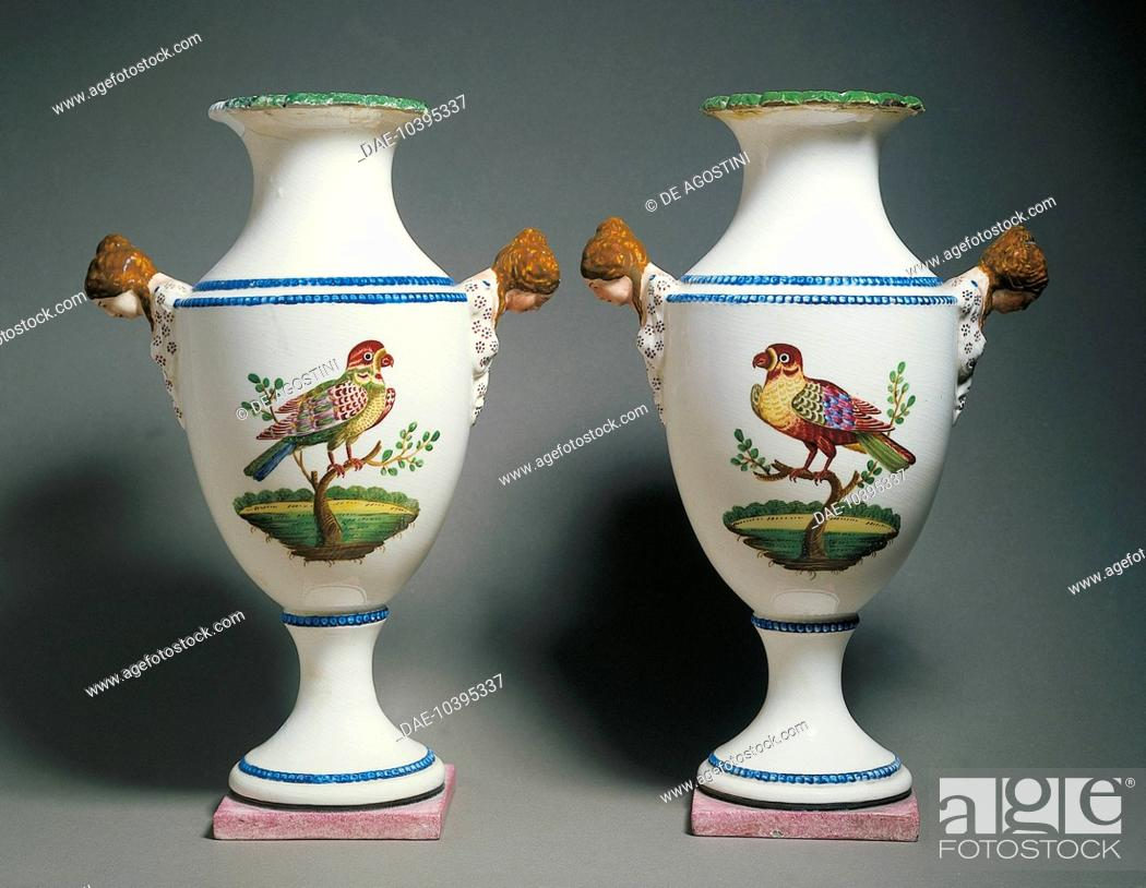 Pair Of Amphora Vases Decorated With Birds Ceramic Giustiniani