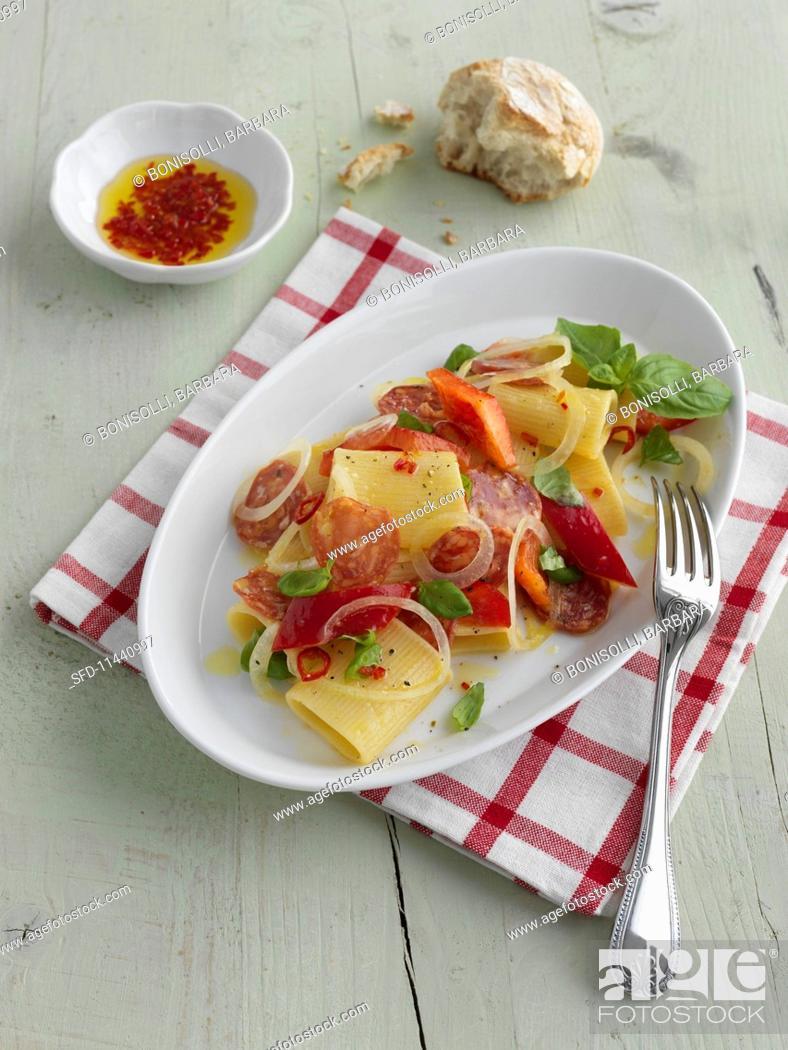 Stock Photo: Insalata con Bombardoni alla Siciliana (Italian pasta salad).