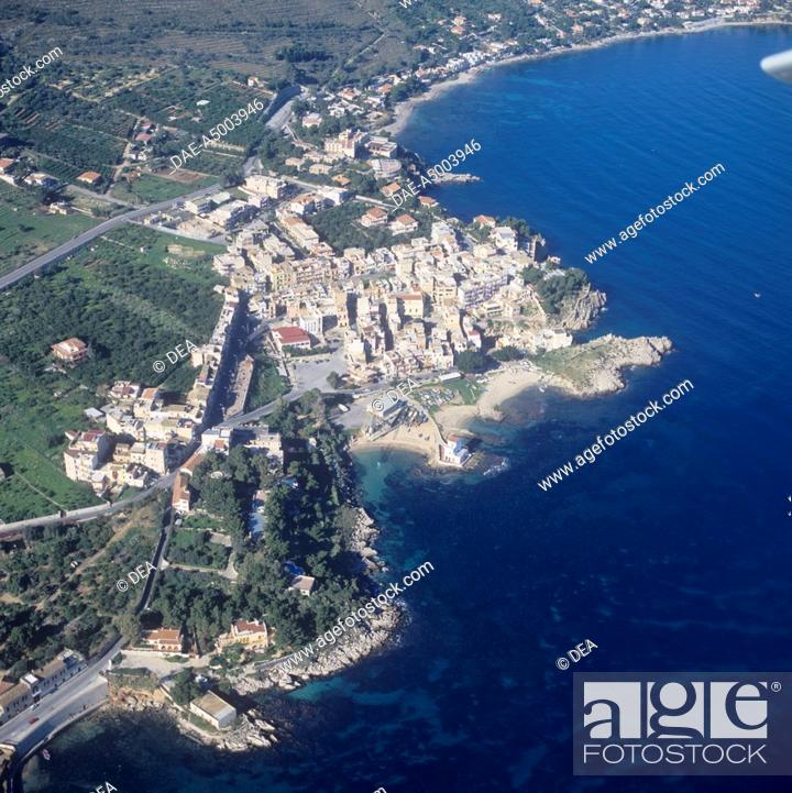Stock Photo: Italy - Sicily Region - Solunto - The old city of Phoenician origin with a Hellenistic-Roman structure (4th-2nd century b.C.) - Aerial view.