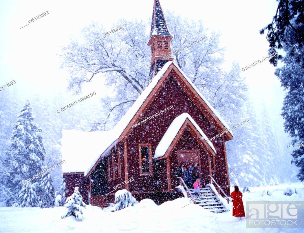 Stock Photo: Yosemite Chapel in Snow Fall.