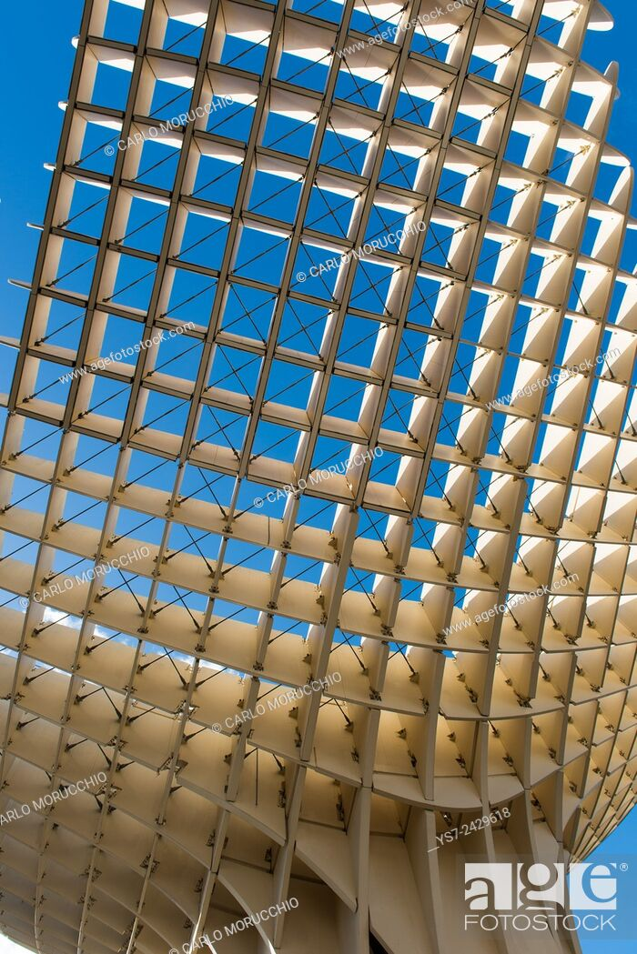 Stock Photo: Metropol Parasol, known as Setas de Sevilla, the Mushrooms, is the world's largest wooden structure, Sevilla, Andalusia, Spain.