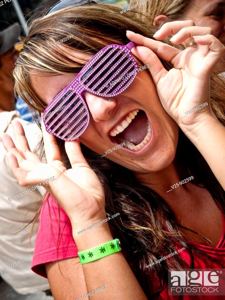 Stock Photo: Woman with funny glasses.