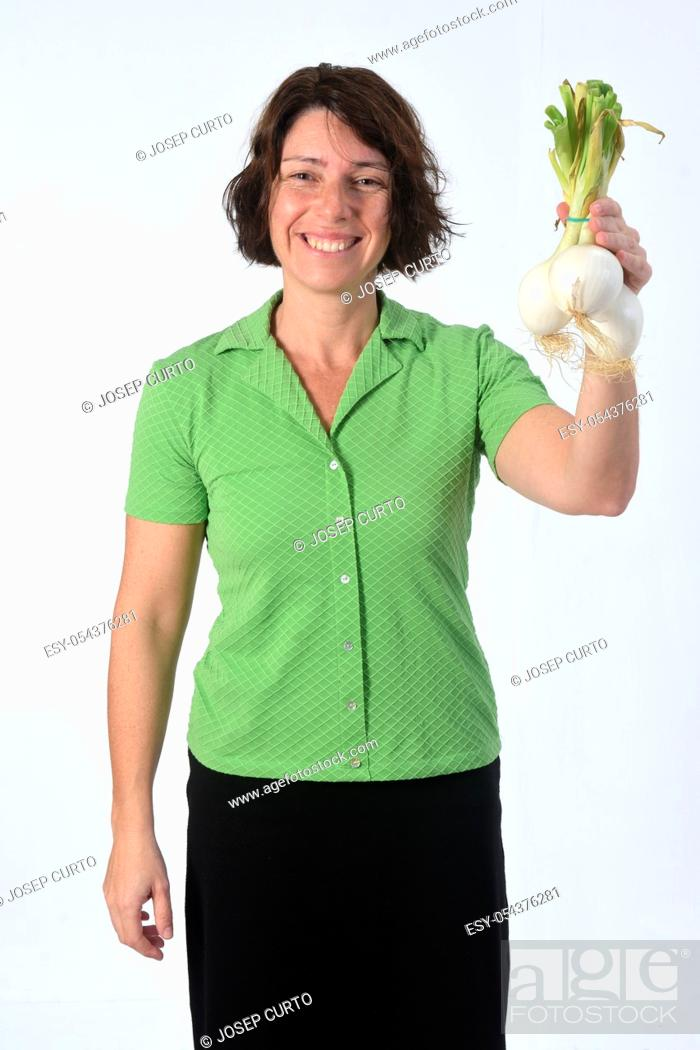 Stock Photo: woman with lemon fruit in white background.
