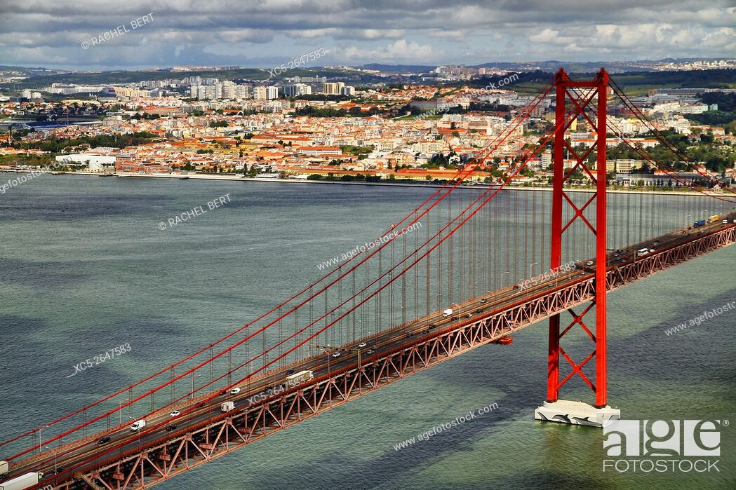 Stock Photo: Ponte 25th Abril bridge, Lisbon, Portugal.