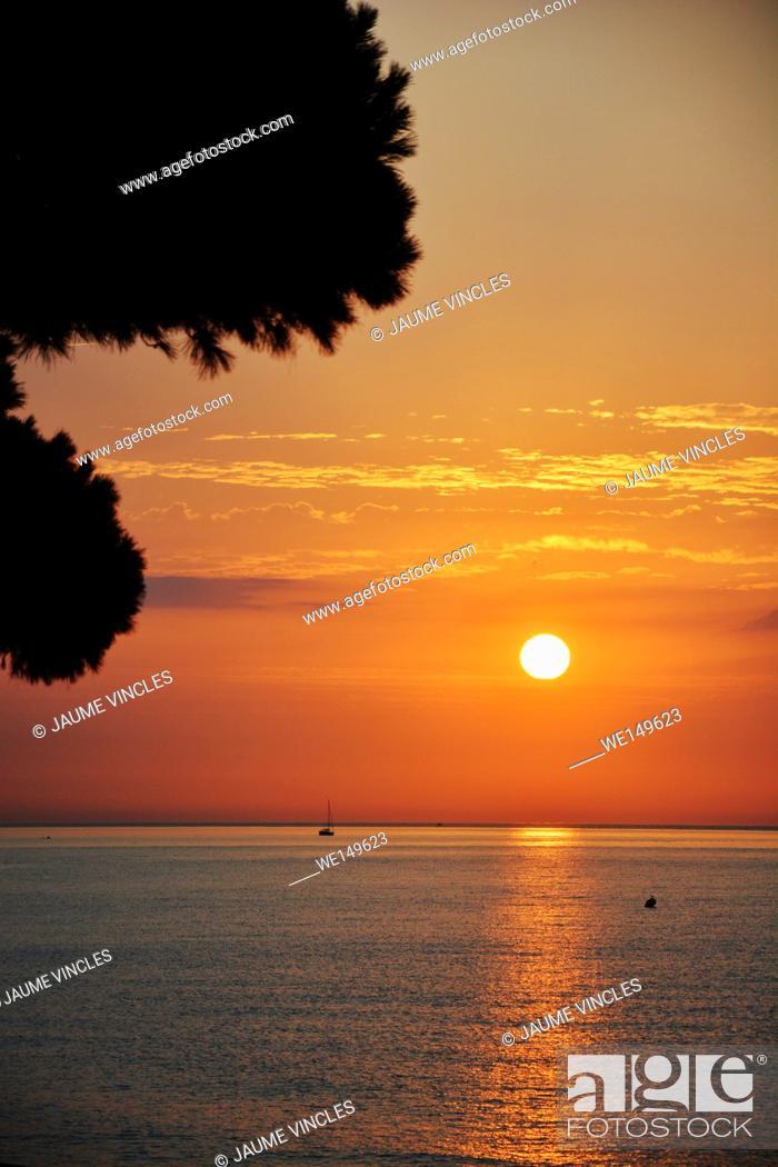 Stock Photo: Beautiful sunrise on the Maresme, north coast of Barcelona.