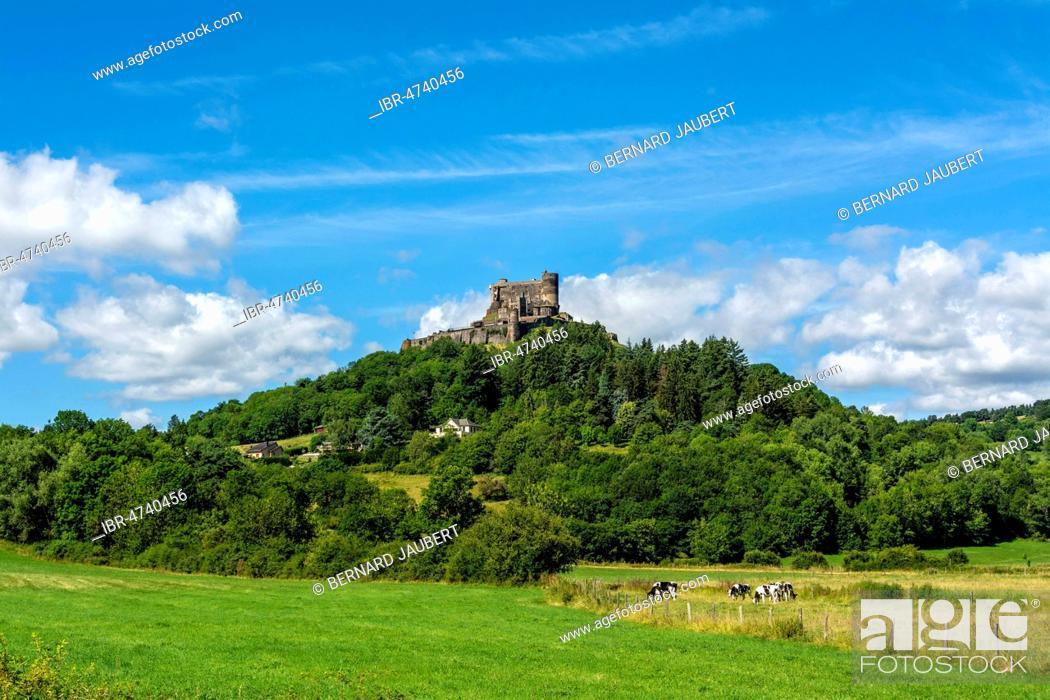 Stock Photo: Murol castle, Auvergne Volcanoes Natural Park, Puy de Dome department, Auvergne Rhone Alpes, France.