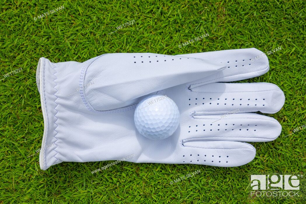 Stock Photo: Golf Glove and Ball on the Green Grass in Switzerland.