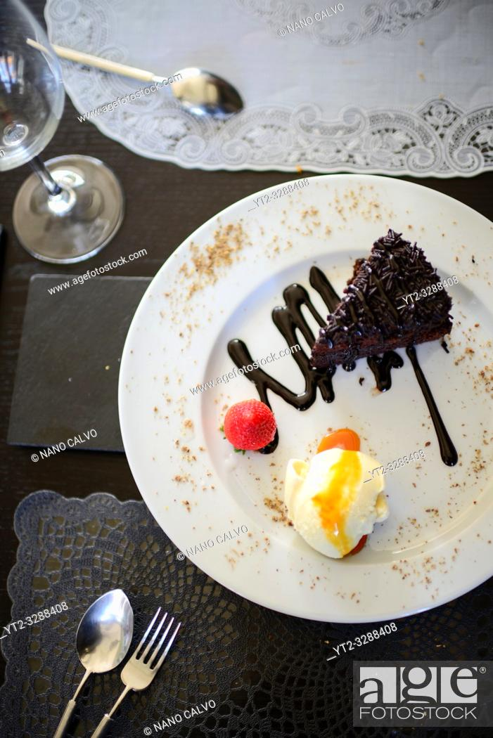 Stock Photo: Chocolate dessert at A Raposa restaurant in Sintra, Portugal.