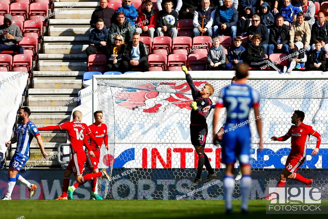 Stock Photo: 2017 Skybet Championship football Wigan v Cardiff Apr 22nd. April 22nd 2017, Wigan, Lancashire, England; Skybet Championship football Wigan versus Cardiff; Ben.