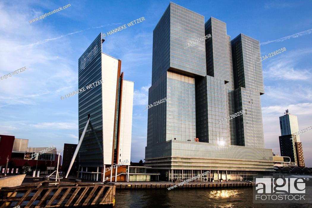 Stock Photo: Rotterdam Skyline, the Netherlands.