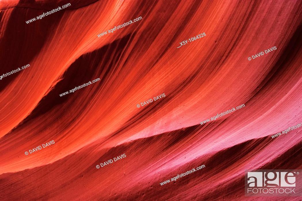 Stock Photo: Sandstone interior of Lower Antelope Slot Canyon, Page, Arizona.