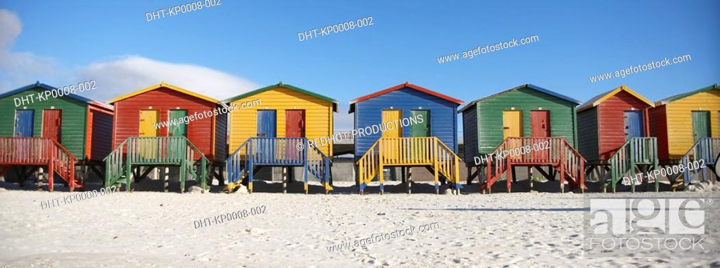Stock Photo: Row of Beach Huts South Africa.