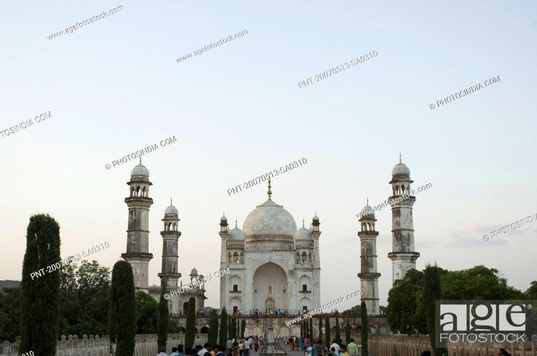Stock Photo: Facade of a building, Bibi Ka Maqbara, Aurangabad, Maharashtra, India.