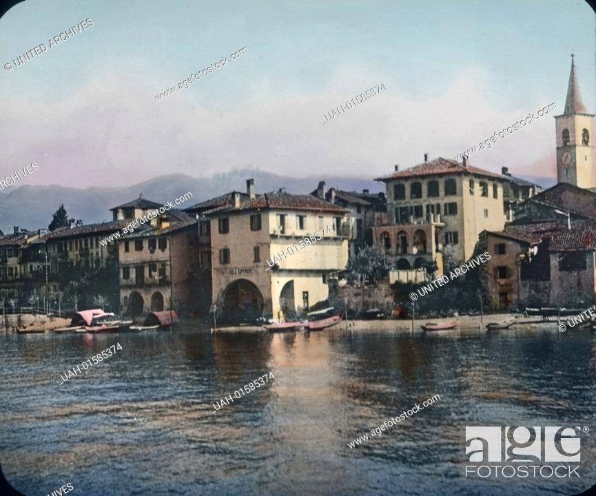 Stock Photo: Italy, the Island of the Fishermen on the Lake Maggiore, one of the Borromean islands, image date: circa 1910. Carl Simon Archive.