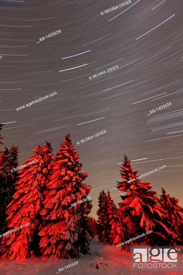 Stock Photo: Star tracks in winter sky, Hohen Meissner National Park, North Hessen, Germany.