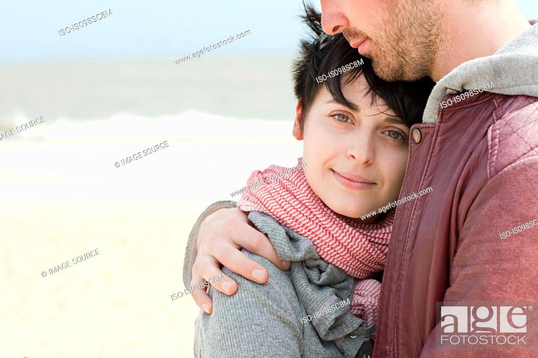 Stock Photo: Young couple at the beach.