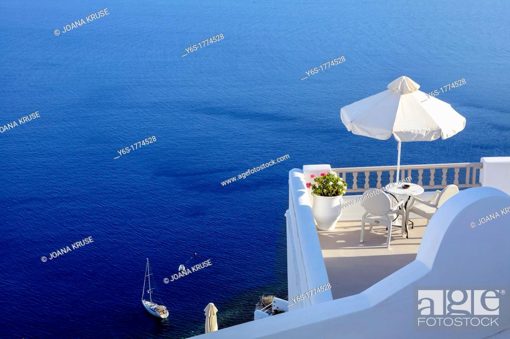Stock Photo: Balcony overlooking the Aegean Sea.