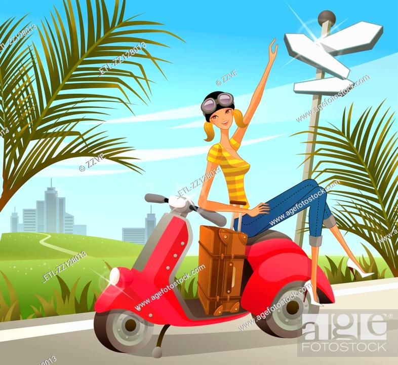 Stock Photo: Woman sitting on motor scooter with luggage by signpost.