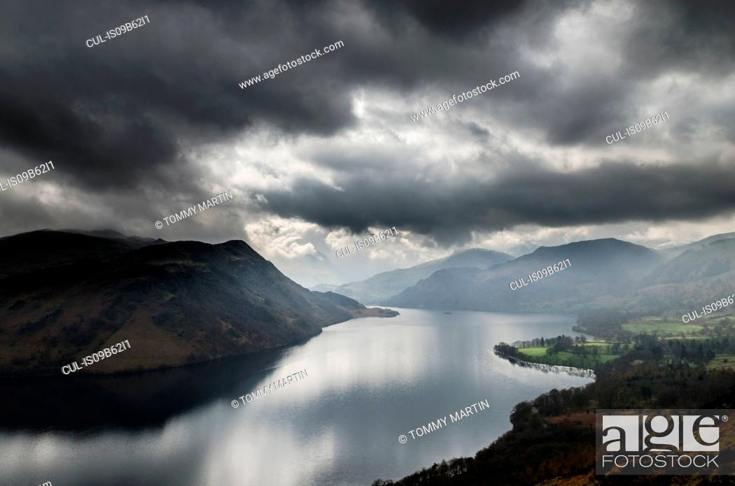Stock Photo: Storm clouds over Ullswater lake, seen from Gowbarrow Fell, The Lake District, UK.