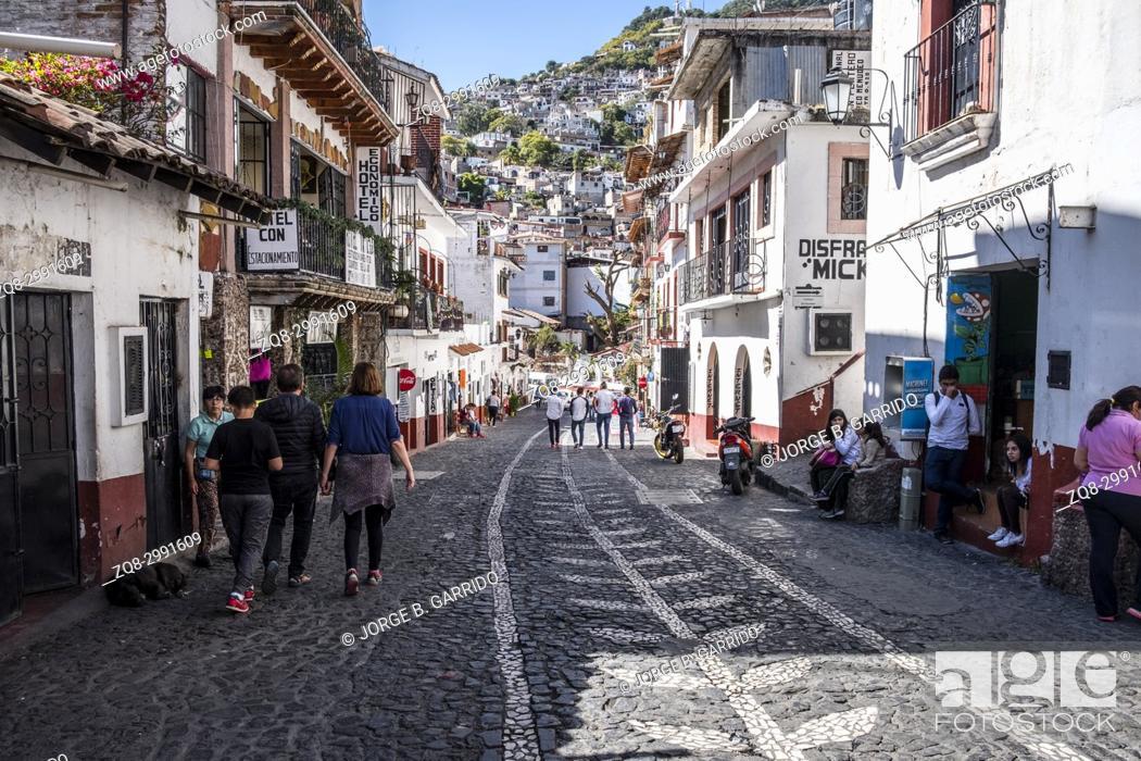 Stock Photo: Streets of Taxco de Alarcon, State of Guerrero, Mexico.