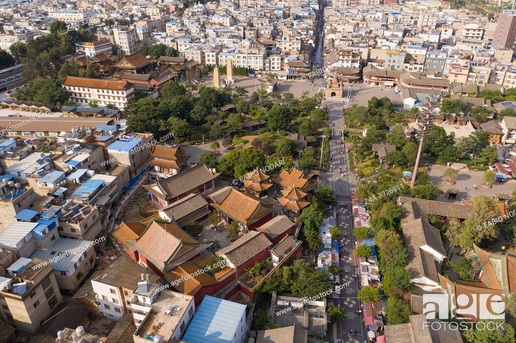 Stock Photo: Kunming, China - May 30, 2019: Aerial view of Guandu Old Town, one of the landmarks in Kunming, Yunnan's capital.