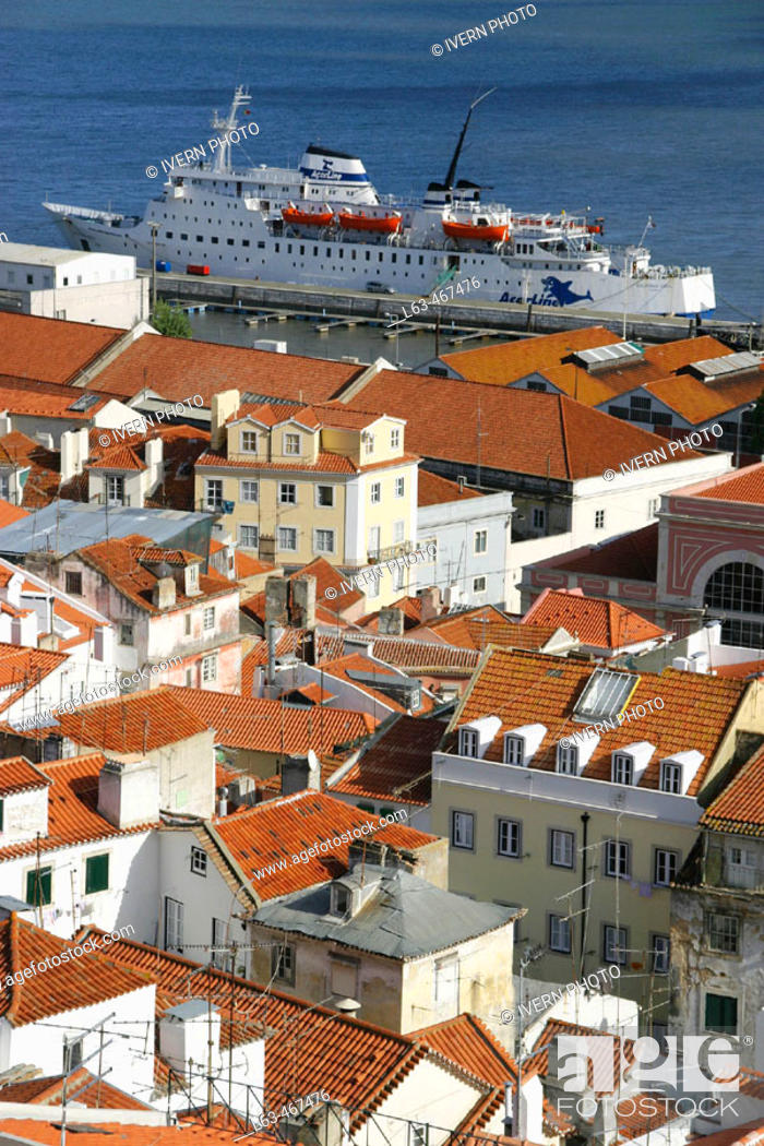 Stock Photo: View on Alfama district and Doca do Jardim do Tabaco from Miradouro Santa Luzia, Lisbon. Portugal.