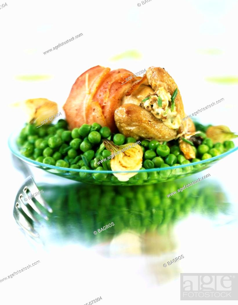 Stock Photo: quail stuffed with fromage frais.