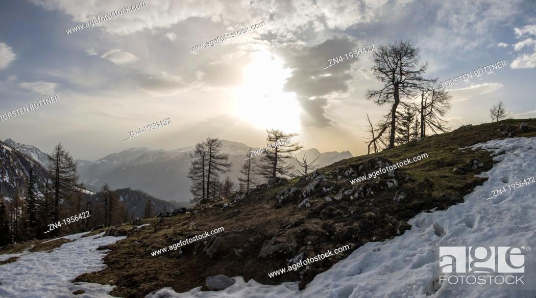 Stock Photo: Sunset on Kleiner Pyhrgas in Kalkalpen National Park. Austria.