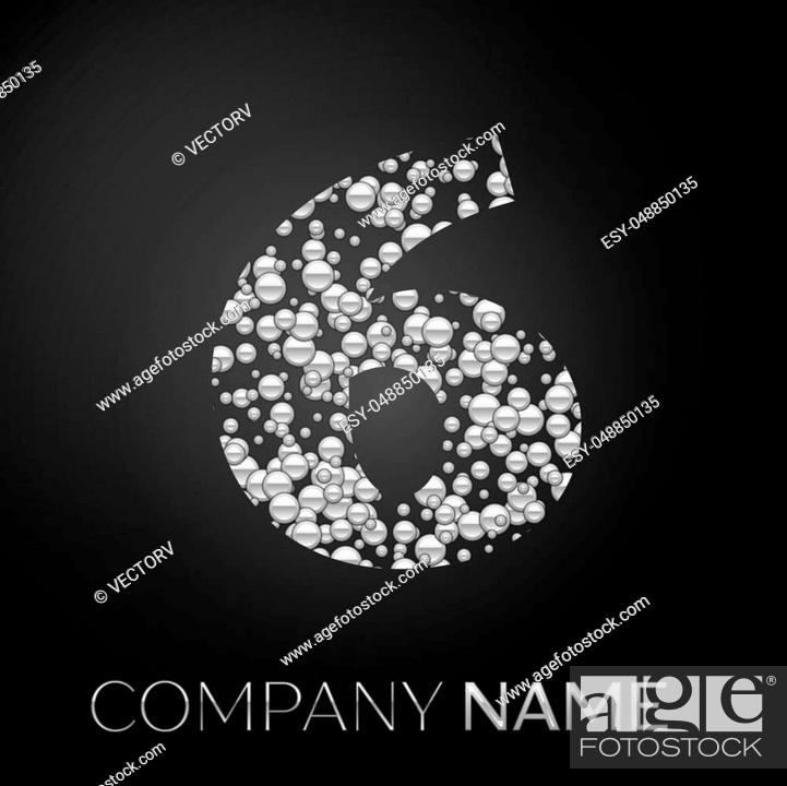 Stock Vector: Number Six logo silver dots. Alphabet logotype with abstract silver bubbles shape on black background. Vector template for your design.