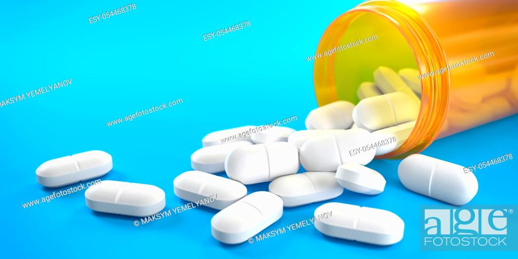 Stock Photo: Pills and orange pill bottle on blue background with copy space. Prescription drugs. 3d ilustration.