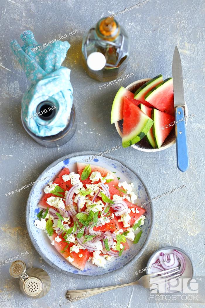 Stock Photo: Watermelon with feta and mint.