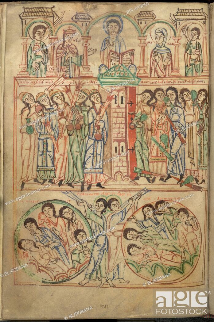 Stock Photo: The Last Judgement. Image taken from Speculum Virginum. Originally published/produced in Germany Hirsau or Freising, 1140-1145.