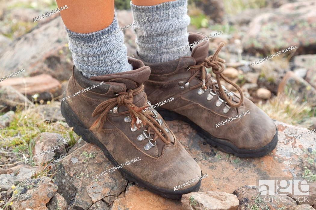 Stock Photo: Old leather hiking boots.