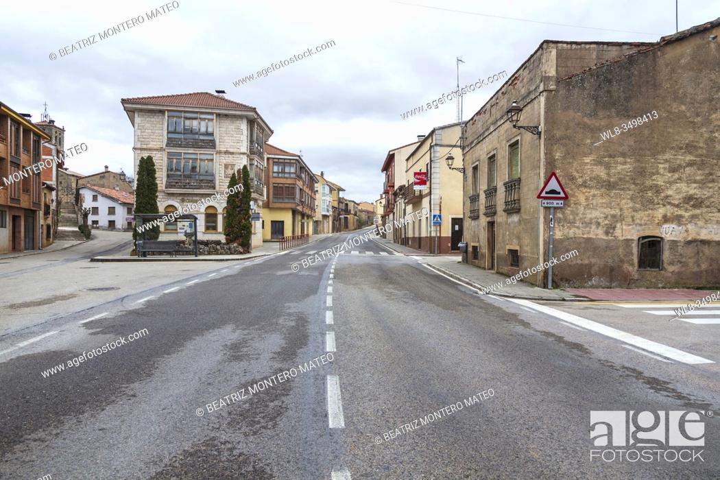 Stock Photo: Empty streets due to the Coronavirus in Salas de los Infantes, Burgos (Spain).