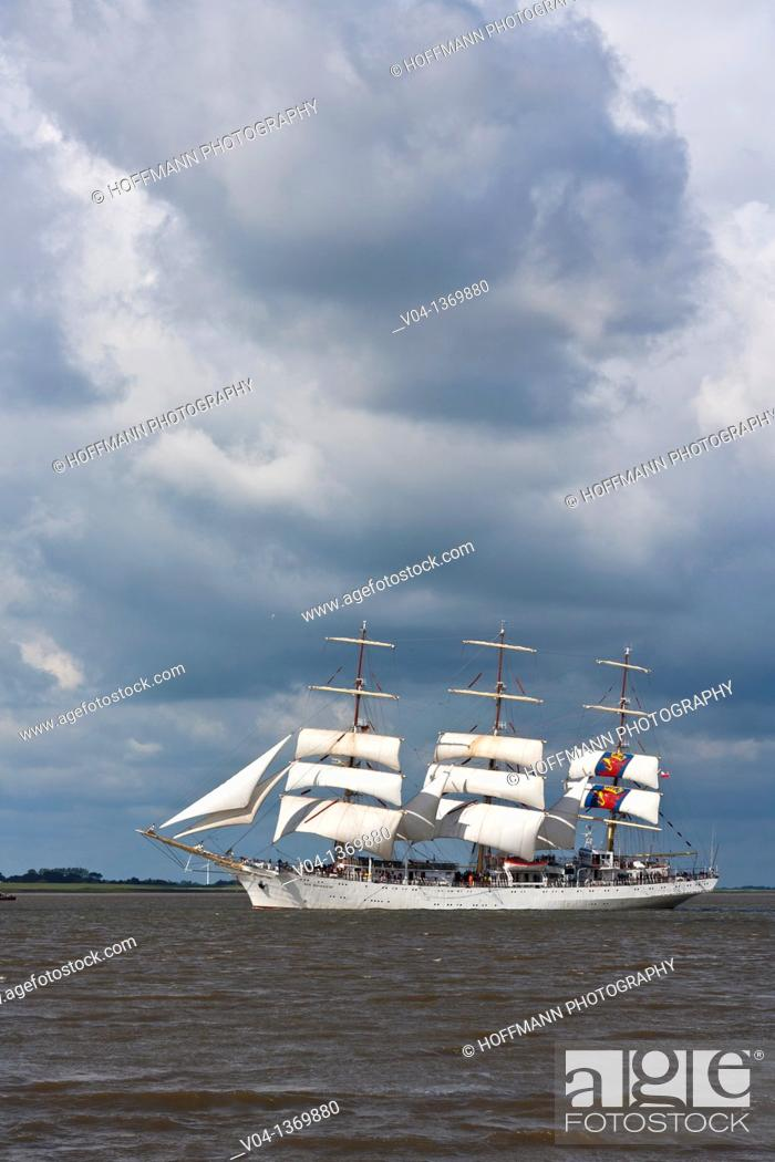 Stock Photo: Polish tall ship Dar Mlodziezy on the river Weser, Bremerhaven, Germany, Europe.