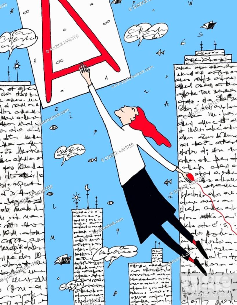 Stock Photo: A woman swinging from the letter A.