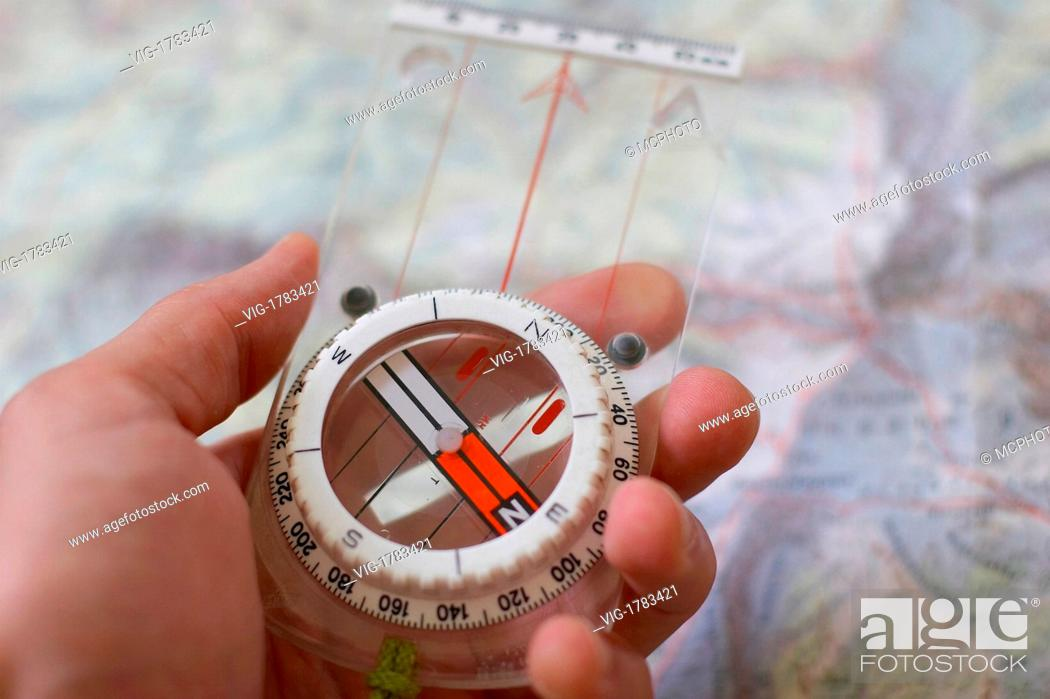 Stock Photo: naviagtion with compass - 16/05/2005.