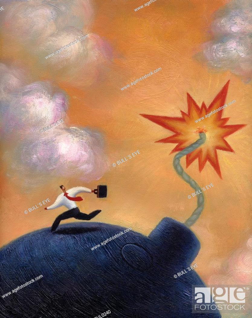 Stock Photo: Businessman running from a giant lit bomb.
