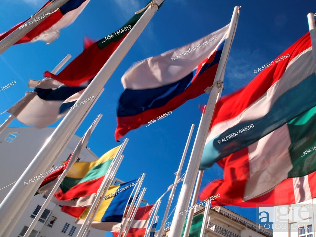 Stock Photo: european flags.