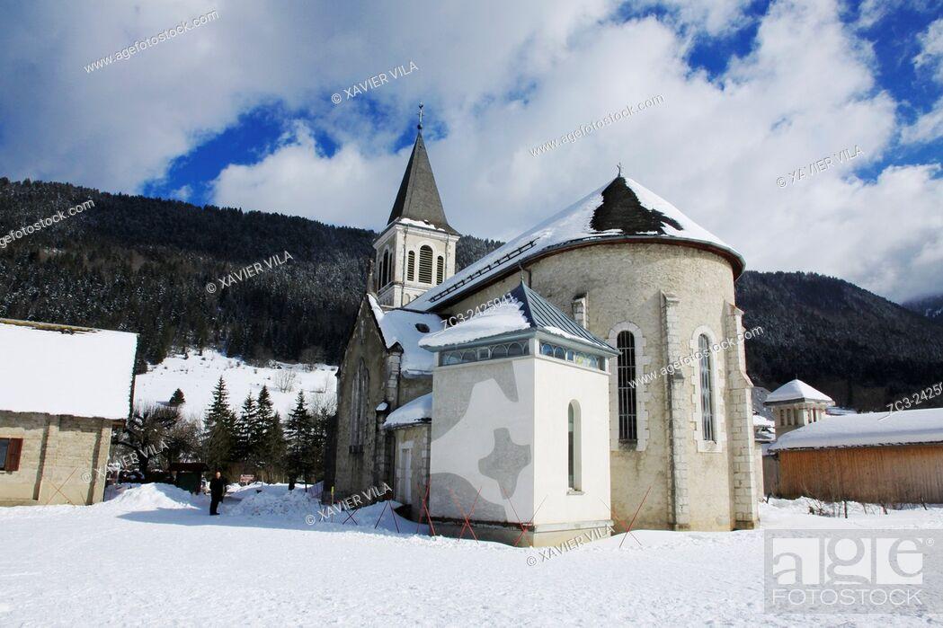 Stock Photo: Church of the ski resort of Saint Hugues en Chartreuse, Alps, Isere, Rhone Alpes, France.